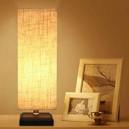 ZEEFO Bedside Table Lamp Style Solid Wood Fabric Shade Night