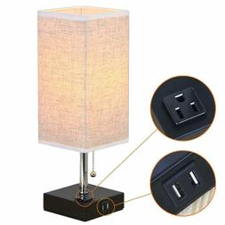 ZEEFO Dual 2.1A USB Charging Port Table Lamps with Outlet Si